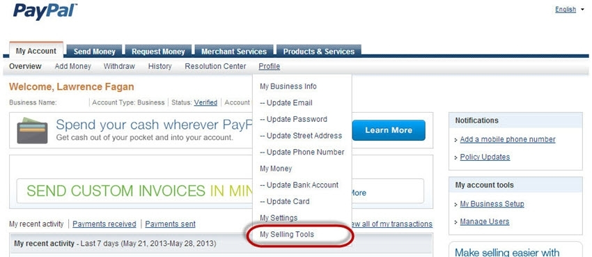 PayPal selling tools link