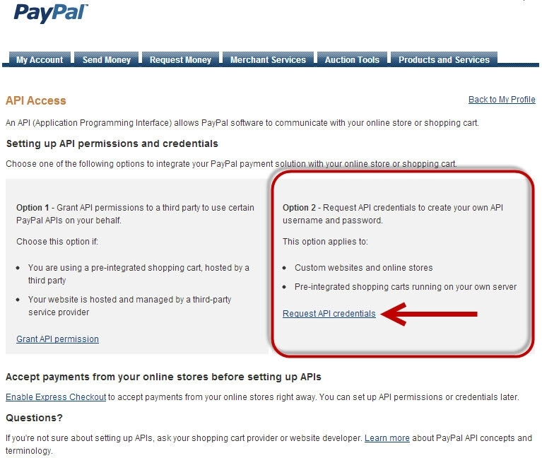 request PayPal credentials