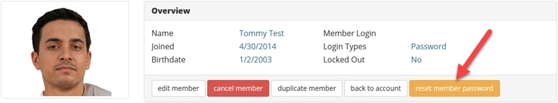 Reset member password button
