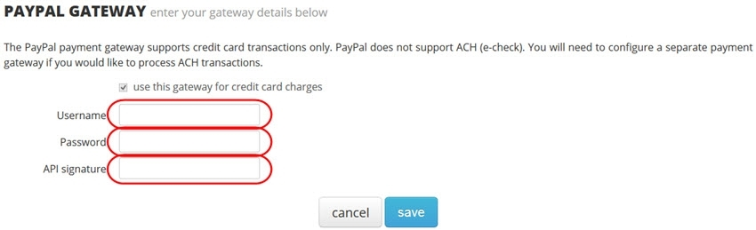 enter your PayPal API credentials