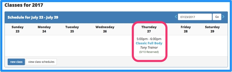 Now your class is displayed on your class calendar.