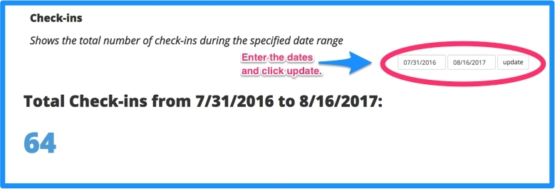 Enter the date range and click update.