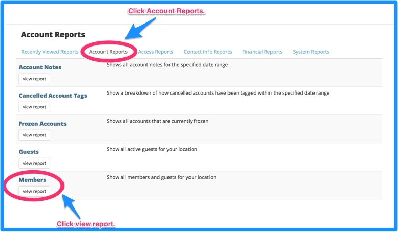 Click on account reports and click view report under members.
