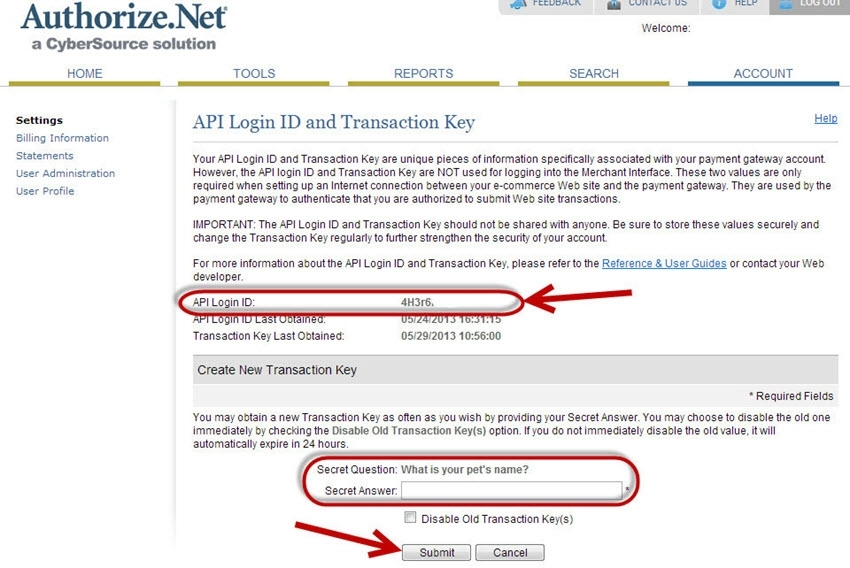 view authorize.net api login and transaction key