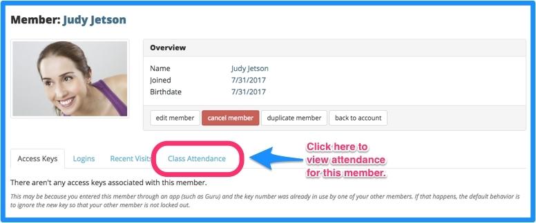 Access member's screen and click class attendance.