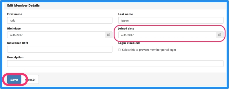Click in the joined date box and select the join date. Click update.