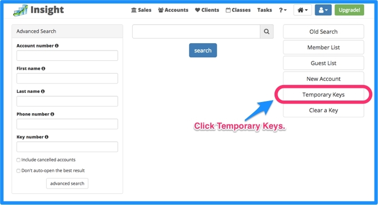 Click on temporary keys.