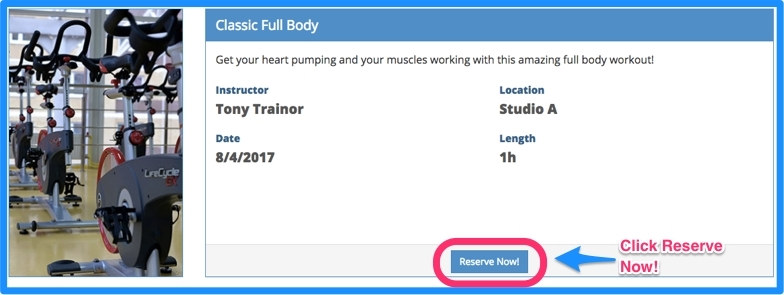 Members can reserve a class.
