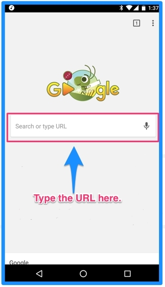 Type your Guru url into the address bar on your android device.