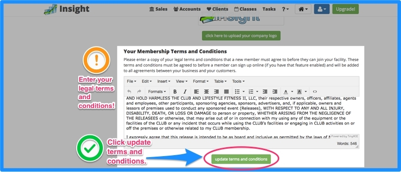 Add your Terms and Conditions and click the update terms and conditions button.