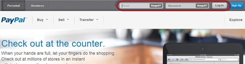 PayPal login screen