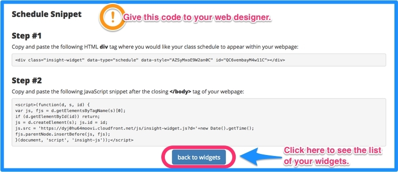 A code will appear. Give it to your web designer. Click back to widgets to see a list of widgets you created.