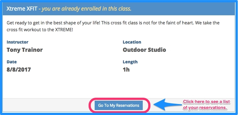 Click on go to my reservations.